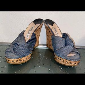 Jimmy Choo Distressed Denim Wedge Cork Shoe Size38